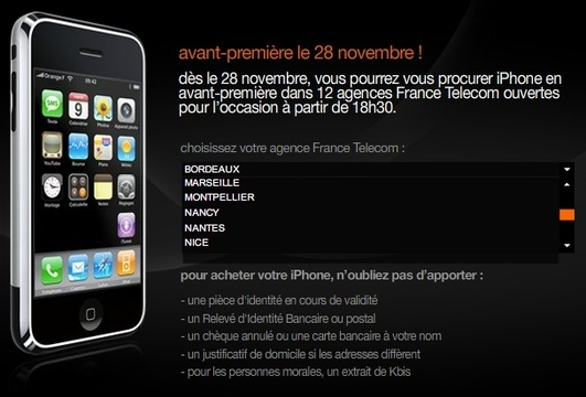Le iPhone disponibe le 28 dans 12 agences - La France connaitra t elle de longues files d'attente devant chez Orange ?