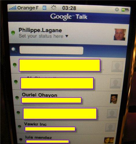 Tres sympa cette version de GTalk sur l'iPhone