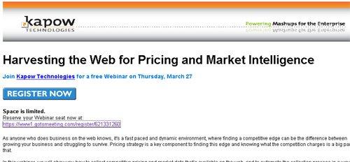 Cadeau! Participez à un séminaire en ligne gratuit sur 'Harvesting the Web for Pricing and Market Intelligence'
