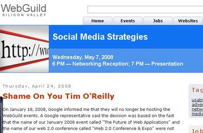 O'reilly fait pression sur Google pour ne pas sponsoriser une conférence 'concurrente'
