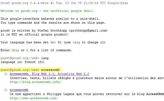 Goosh - c'est Google mais en ligne de commande ( comme le DOS :) )