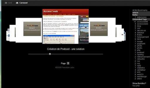 Favthumbs - vos bookmarks Del.icio.us en image