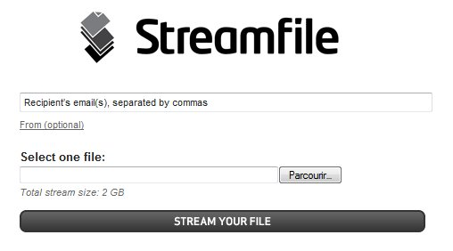 Streamfile - Partage de fichiers en ligne jusqu'à 2 Go