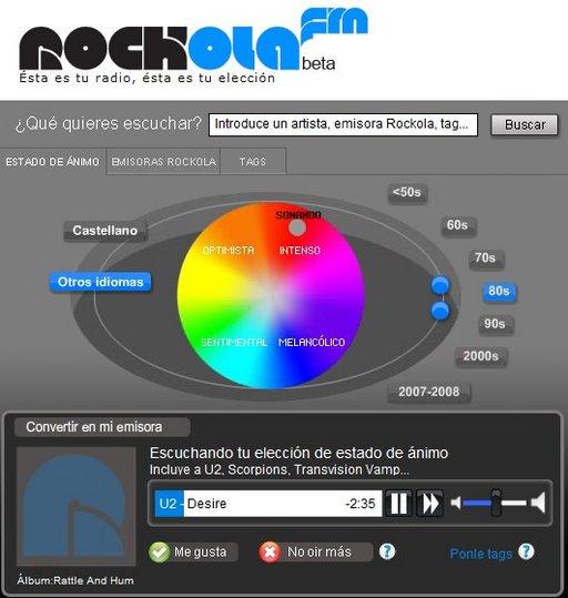 Rockola.fm - la radio 2.0 ( comme Musicovery mais en espagnol )