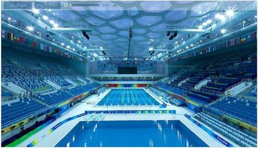 Un panoramique à 360 degrés de la piscine Olympique de Beijing