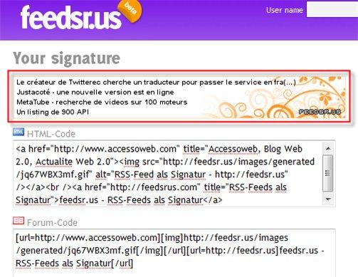 Feedsr.us - votre Flux RSS en signature