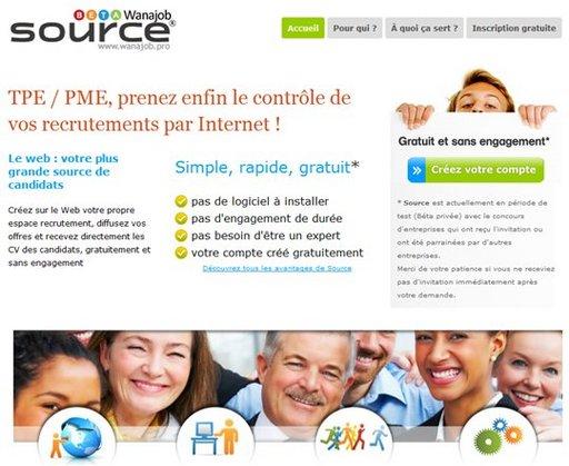 Wanajob lance Wanajob Source - gestion de recrutement en ligne pour les PME et TPE ( version de base gratuite )