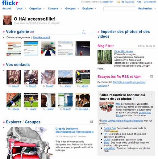 Une nouvelle page d'accueil pour Flickr