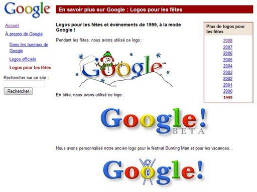 10 ans de logos Google réunis sur un même site