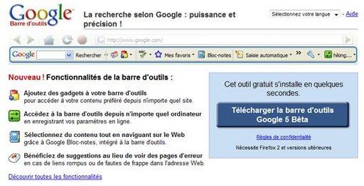 Google Toolbar 5 pour Firefox