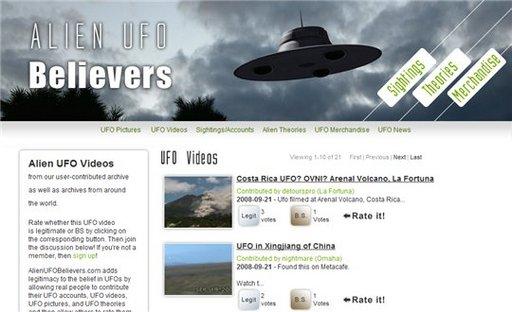 Le monde des OVNI sous forme de Digg Like