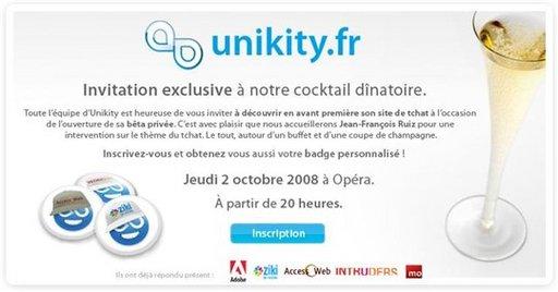 Unikity - le Chat Web 2.0 - Invitation à la soirée de lancement