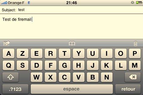 Firemail - un clavier horizontal sur l'iPhone pour écrire vos mails