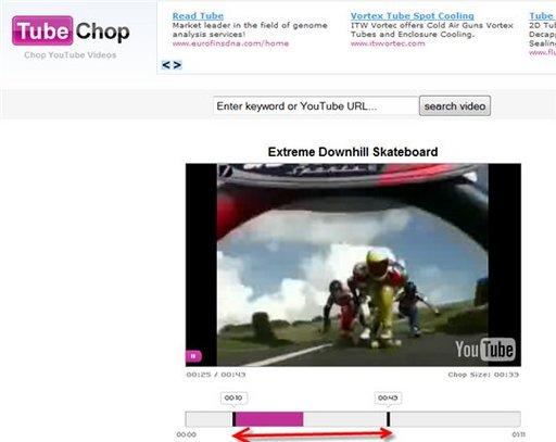 TubeChop - Pour récupérer une partie d'une vidéo Youtube