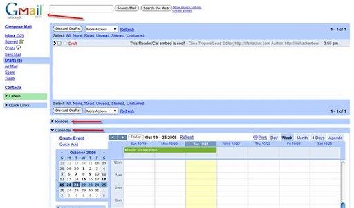 Ajouter Google Reader et Google Calendar à Gmail