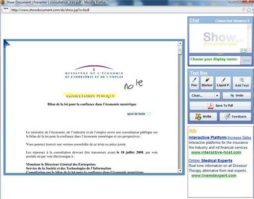 Show Document - Partage de documents et travail en ligne
