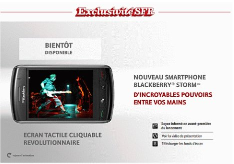 Le Blackberry STORM arrive chez SFR