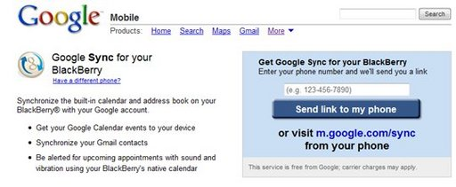 Google Sync pour Blackberry