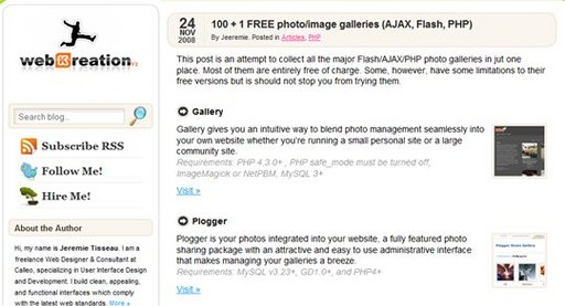 Un joli listing de 101 galeries d'images en PHP, Ajax et Flash