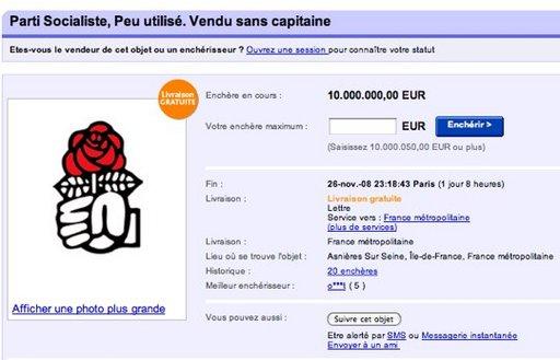 Le Parti Socialiste en vente sur eBay ?