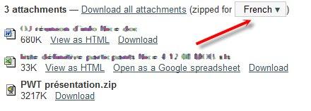 Une autre nouveauté dans Gmail - la langue du ZIP
