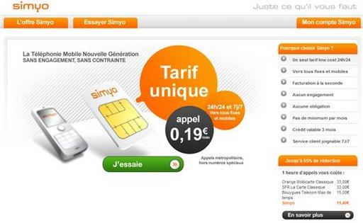 Simyo - Nouvel opérateur de téléphonie mobile - le moins cher du marché