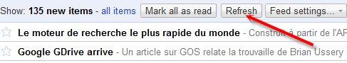 Google Reader permet maintenant de rafraichir les flux RSS manuellement