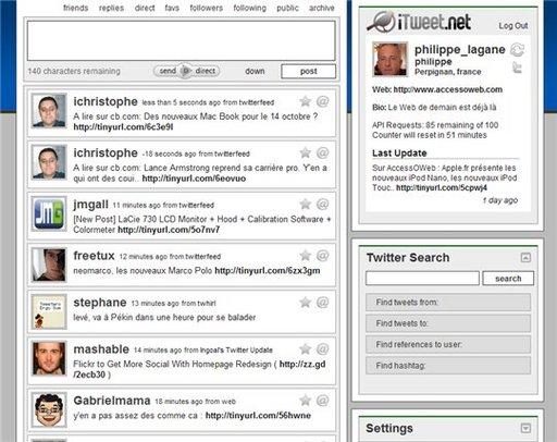 iTweet - nouvelle interface pour Twitter en ligne