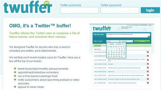 Twuffer - Programmez vos Twits d'avance selon l'heure, le jour ou le mois de votre choix