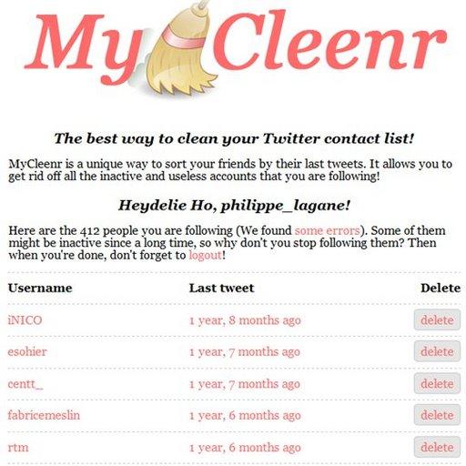 MyCleenr - Nettoyez votre compte Twitter