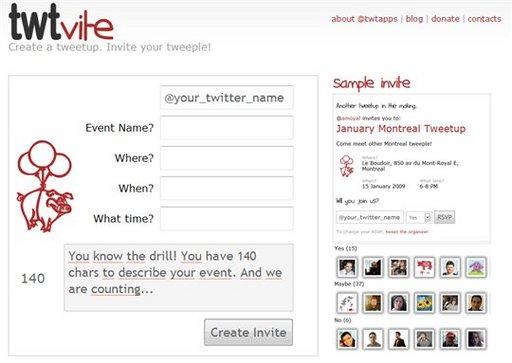 Twtvite - Gestion d'évènements via Twitter