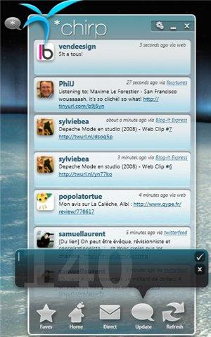 Chirp - un client Twitter pour Windows 7 et Vista