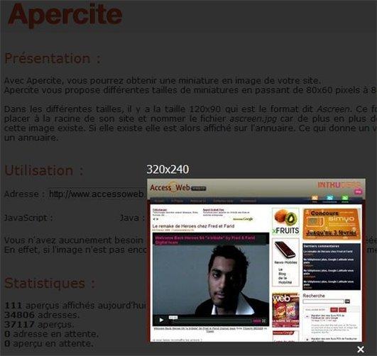Apercite - Générateur de screenshot en ligne