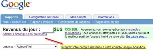 Google Adsense dans Google Analytics actif pour moi aujourd'hui