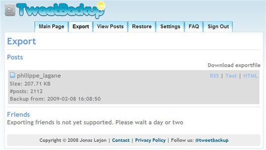 TweetBackup - Backup de vos Twits sur Twitter