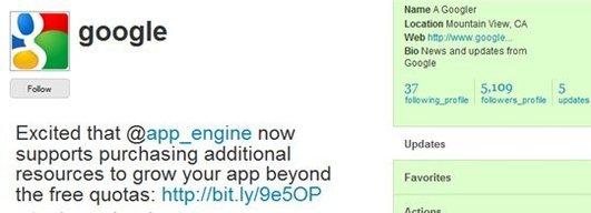 Le Twitter officiel de Google