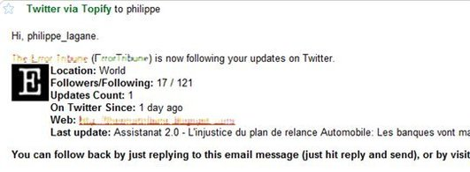 Topify - Gestion des followers Twitter par mail