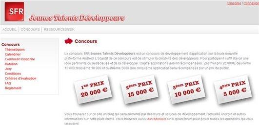 SFR propose un concours autour de Android - 50000 Euros de prix