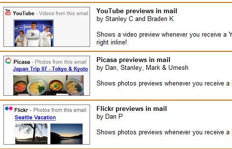 Gmail - vidéos Youtube, photos Flickr et Picasa intégrées dans les mails