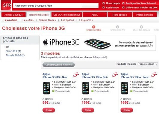SFR TV iPhone et SFR Wifi iPhone le 8 avril 2009