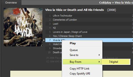 Spotify vend de la musique via 7Digital
