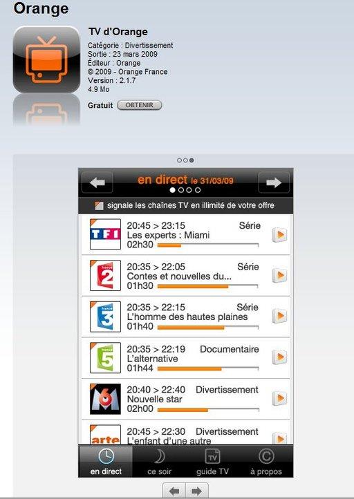 iPhone TV Orange disponible sur l'App Store et aussi SFR TV et SFR Wifi