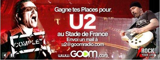 Goom Radio vous offre des places pour le concert de U2 au Stade de France
