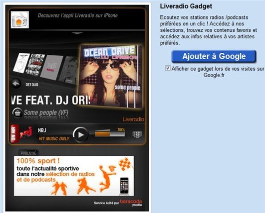 LiveRadio d'Orange maintenant sur iGoogle
