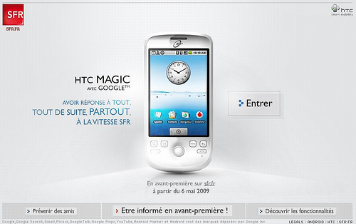 Le HTC Magic SFR en vente le 6 mai 2009 sur SFR en ligne