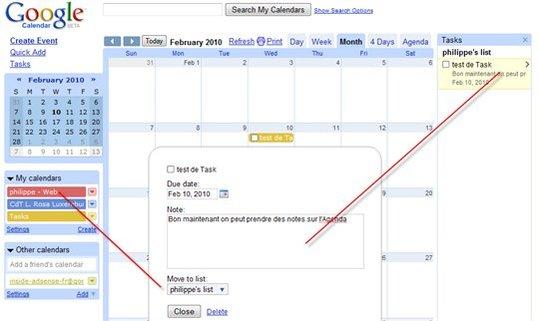Google Agenda - Ajout de Task ( prise de note )