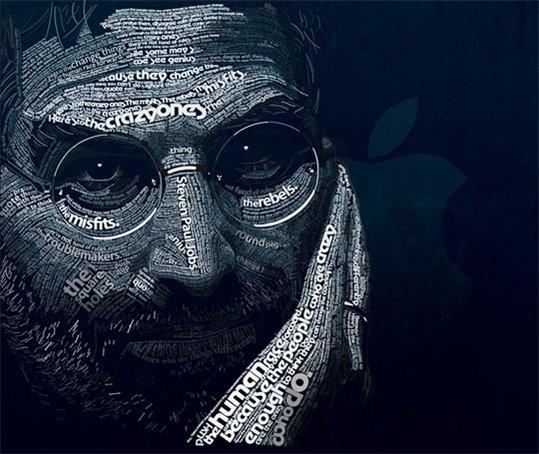 """Le portrait de Steve Jobs en """" mots """" - Magnifique réalisation"""
