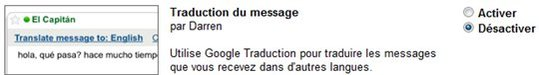 Gmail - Traduction automatique des mails