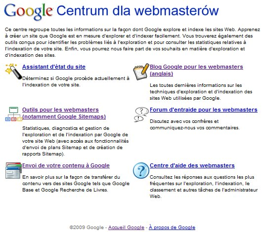 Google parle polonais sur un site en français ???