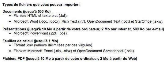 Google Documents accepte maintenant le format Office 2007